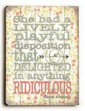 Ridiculous Wood Sign 9x12 (23cm x 31cm) Solid