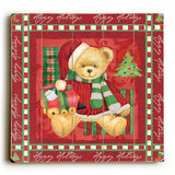 Christmas Bear - Red Wood Sign 13x13 Planked