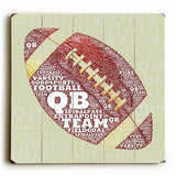 FootBall Wood Sign 13x13 Planked