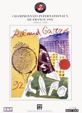 1992 Roland Garro Tennis Champion Poster Wood Sign 25x34 (64cm x 87cm) Planked