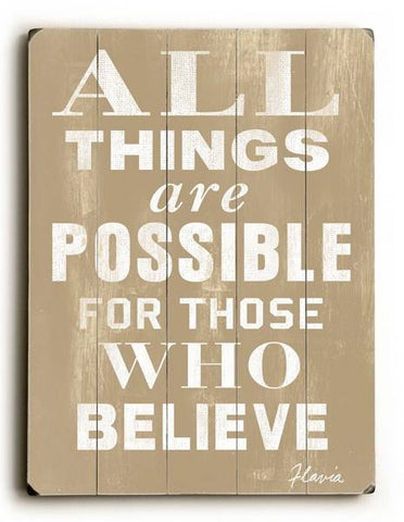 All things are possible Wood Sign 12x16 Planked