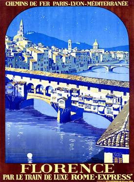PLM Railway Florence Travel Poster Wood Sign 9x12 (23cm x 31cm) Solid