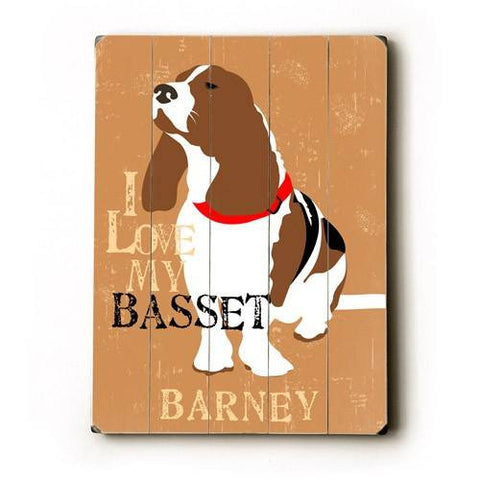 Personalized I love my basset Wood Sign 12x16 Planked