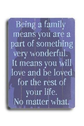 Being a Family (Purple) Wood Sign 14x20 (36cm x 51cm) Planked