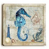 Sea Horse Wood Sign 13x13 Planked