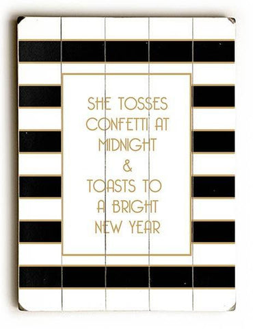 She Tosses Confetti at Midnight Wood Sign 25x34 (64cm x 87cm) Planked