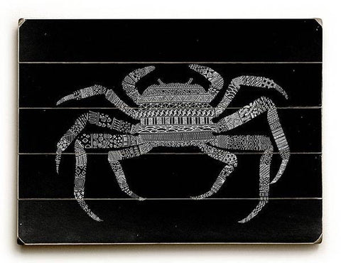 Black Crab Wood Sign 12x16 Planked