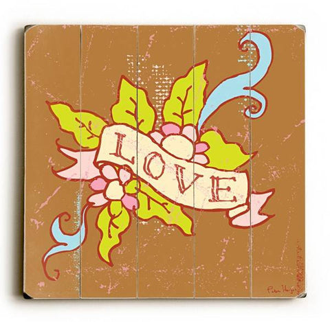 Love Flower Tattoo Wood Sign 30x30 (77cm x 77cm) Planked