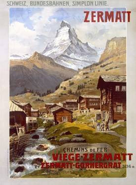 Swiss Alps Zermatt Matterhorn Poster Wood Sign 14x20 (36cm x 51cm) Planked