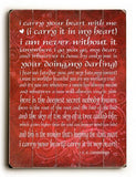 I carry your heart Wood Sign 9x12 (23cm x 31cm) Solid