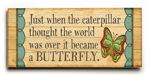Butterfly Wood Sign 10x24 (26cm x61cm) Planked