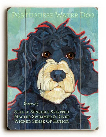 Portuguese Water Dog Wood Sign 25x34 (64cm x 87cm) Planked