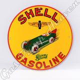 "Shell Green Streak Gasoline 12"" Sign"