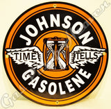 "Johnson Gasolene 12"" Sign"
