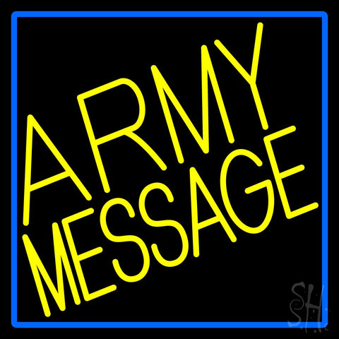 Custom Army With Blue Border Neon Sign 24