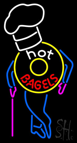 Hot Bagels With Chef Neon Sign 37