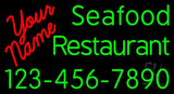"Custom Seafood Restaurant With Number Neon Sign 20"" Tall x 37"" Wide x 3"" Deep"