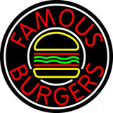 "Famous Burgers Circle Neon Sign 26"" Tall x 26"" Wide x 3"" Deep"