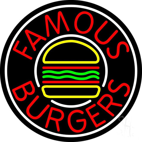 Famous Burgers Circle Neon Sign 26