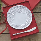 Mariposa Wreath Ceramic Canape Plate & Beaded Spreader