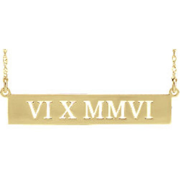 Bespoke Roman Numeral Bar Necklace