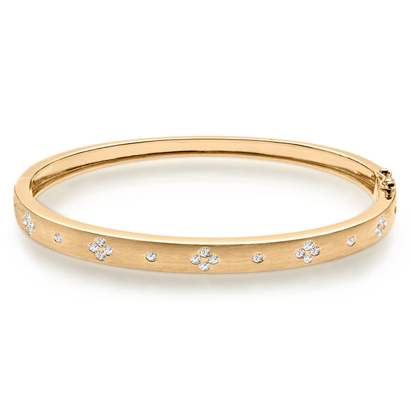 Brushed Gold & Diamond Bangle