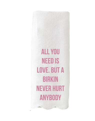 """All You Need Is Love"" Scalloped Tea Towel"