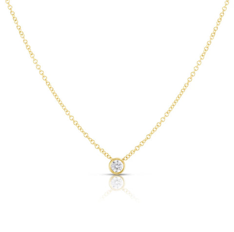 Bezel Set Diamond Slide Pendant Necklace