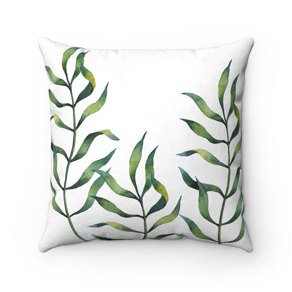 Fern Leaf Print Faux Suede Square Pillow, reverse side