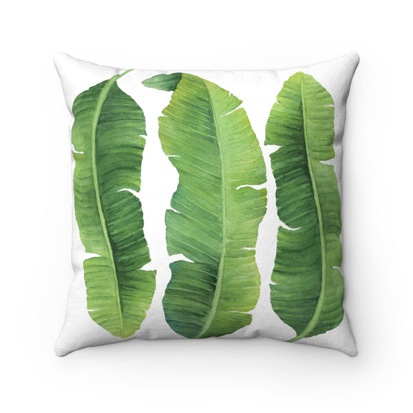 Banana Leaves Tropical Print Pillow, Faux Suede Square Pillow, Green, 3 sizes