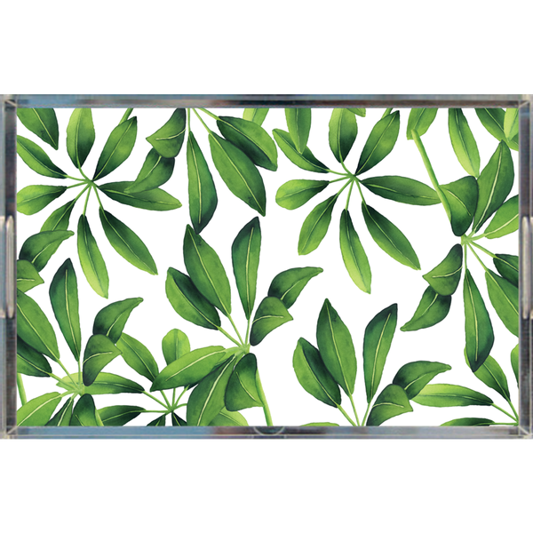 Tropical Leafy Green Print Lucite Tray