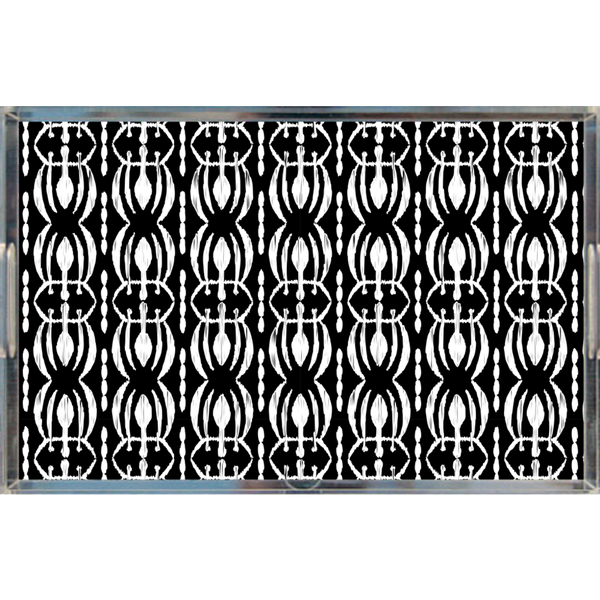 Tribal Print Acrylic Lucite Tray, Black/White