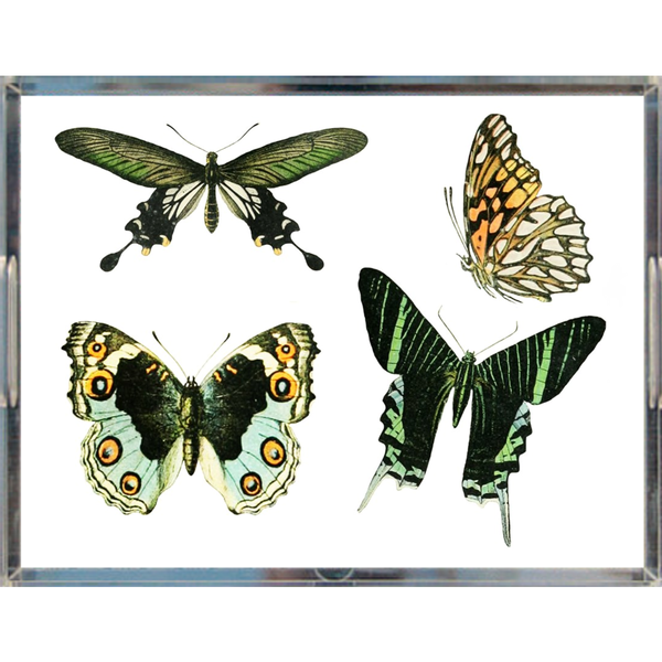 Vintage Butterflies Acrylic Tray