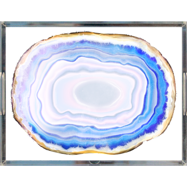 Turquoise Agate Slice Lucite Acrylic Trays, 2 Sizes