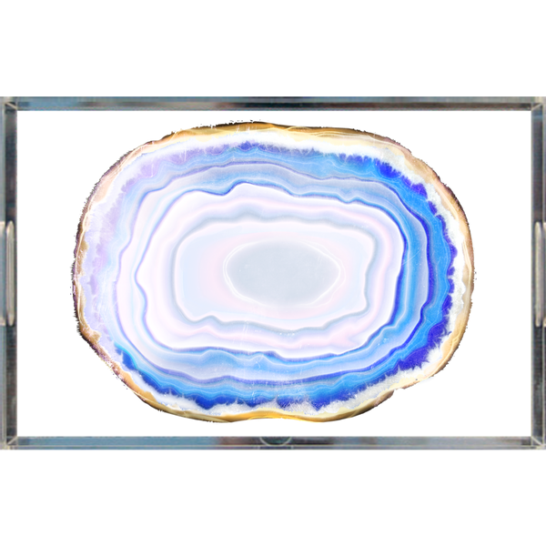 Turquoise Agate Slice Lucite Acrylic Trays