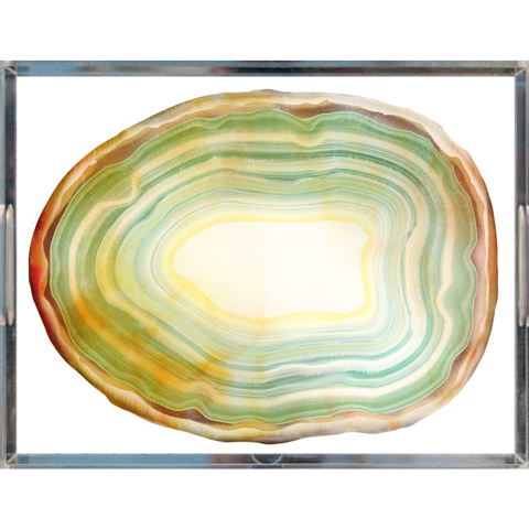 Sage Green Agate Slice Acrylic Lucite Trays, 2 Sizes
