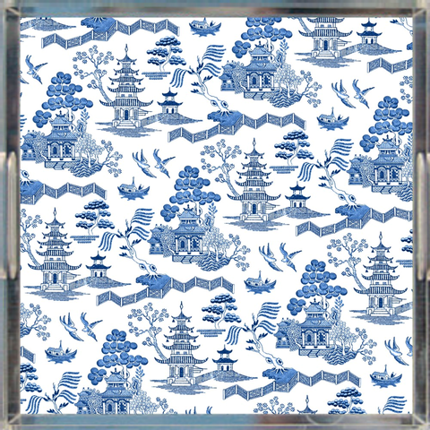 Chinoiserie Toile Porcelain Print Tray, Blue & White