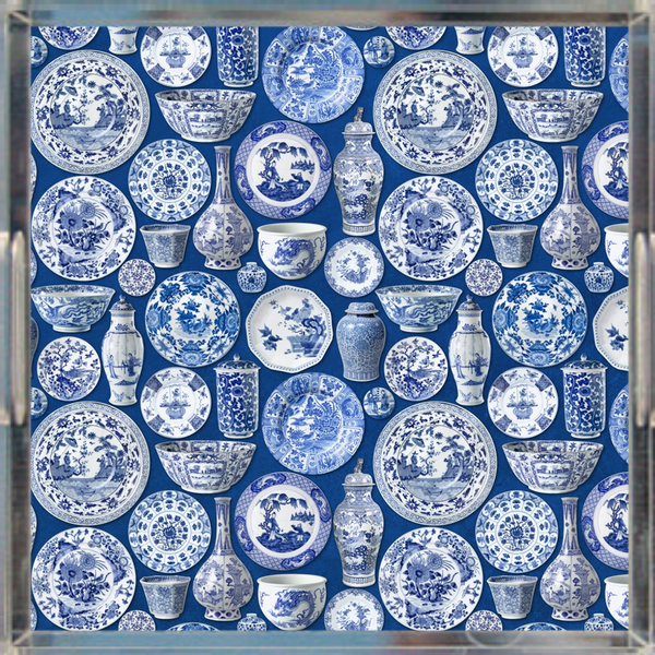 "Chinoiserie Pottery Print Acrylic Tray, Blue & White 12"" x 12"""