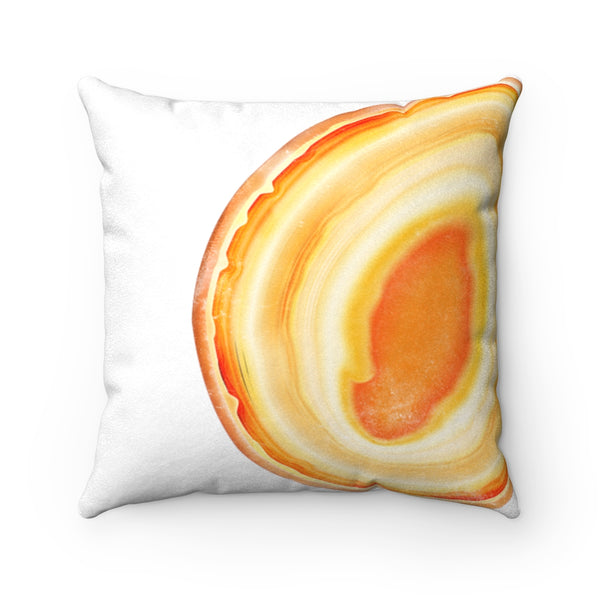 Yellow-Orange Agate Slice Print Faux Suede Square Pillow, 3 Sizes