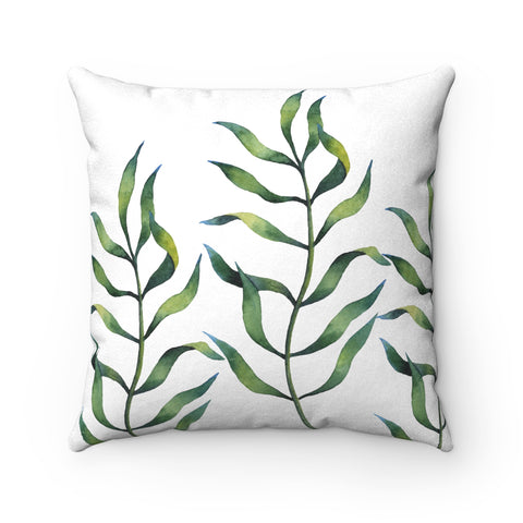 Fern Leaf Print Faux Suede Square Pillow