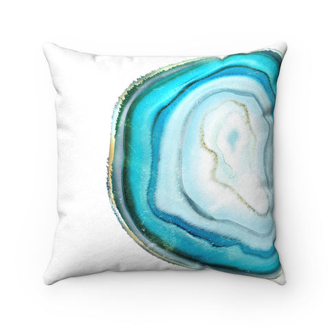 Teal Blue Agate Slice Print Pillow, 3 Sizes
