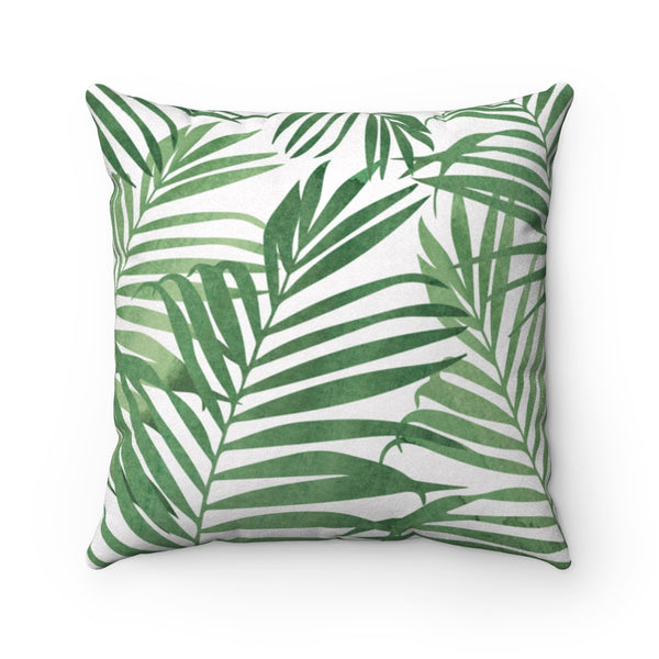 Green & Bone White Palm Leaf Pillow