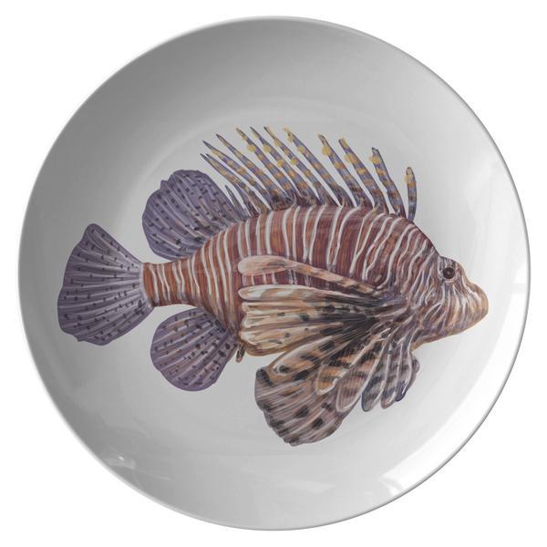 Tropical Fish Plastic Dinnerware Plate, Striped Lionfish