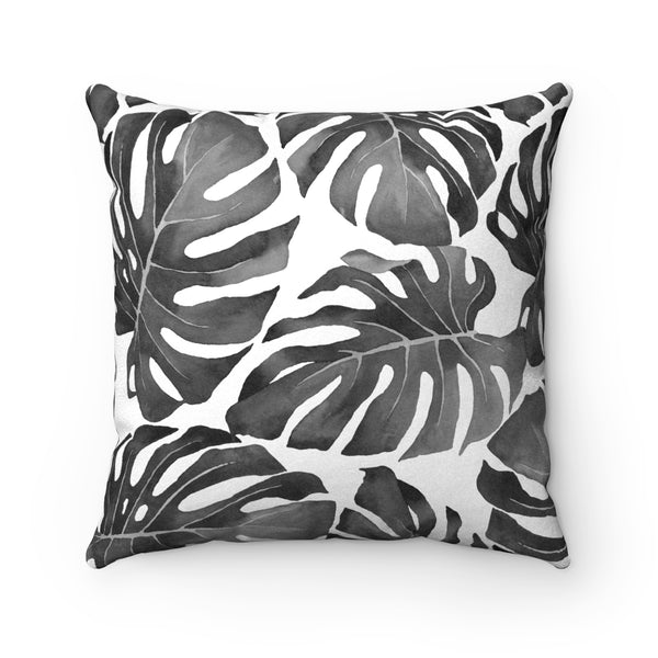 Tropical Monstera Leaves All-over Pattern, Charcoal Grey & White Decorative Throw Pillow 3 sizes