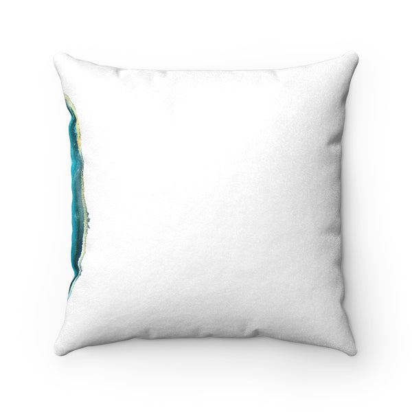 Teal Blue Agate Slice Print Pillows