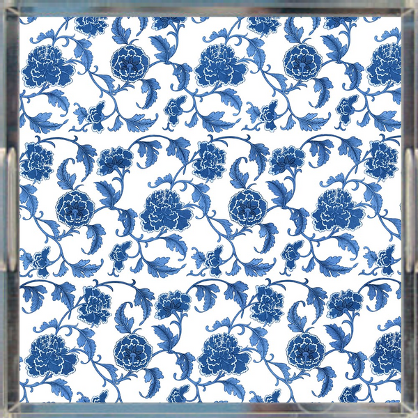"Chinoiserie Floral Print Acrylic Tray 12"" x 12"""