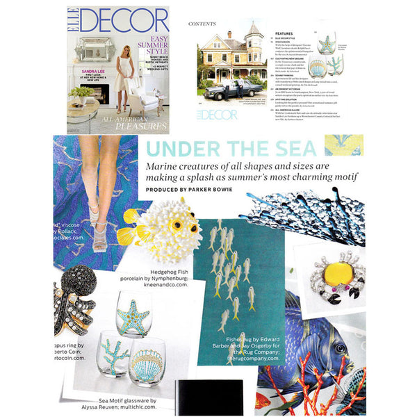 Aqua Sea Motif Glassware featured in ELLE DECOR