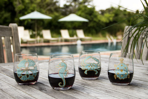 Sea Life Stemless Wine Glasses