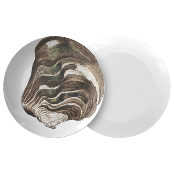 "Seashell Dinnerware, Striped Mussel 10"" Plastic Plate, ThermoSāf® Polymer"