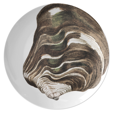 "Seashell Dinnerware, Striped Mussel 10"" Plate, ThermoSāf® Polymer"